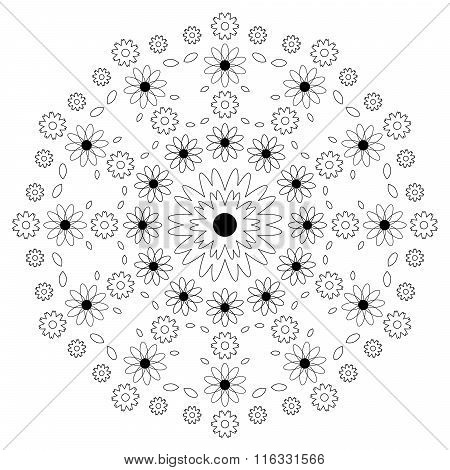 Vector Adult Coloring Book Page Circular Pattern Mandala Flowers Black And White - Floral Background