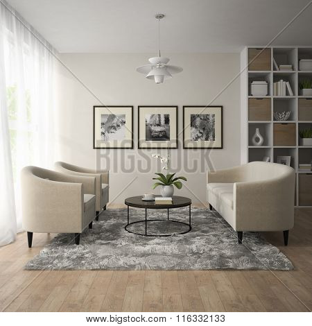 Interior of modern room  with white lamp 3D rendering