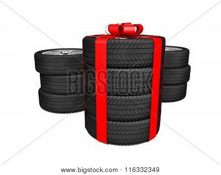 Gift set four tyres. 3d rendering