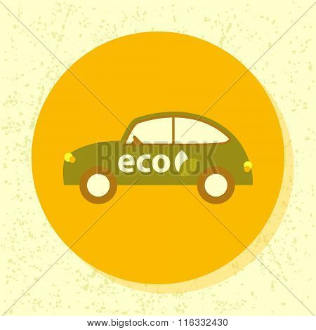Vector Round Icon Eco Car Symbol Of Ecological Transport In Flat Design On Grunge Paper