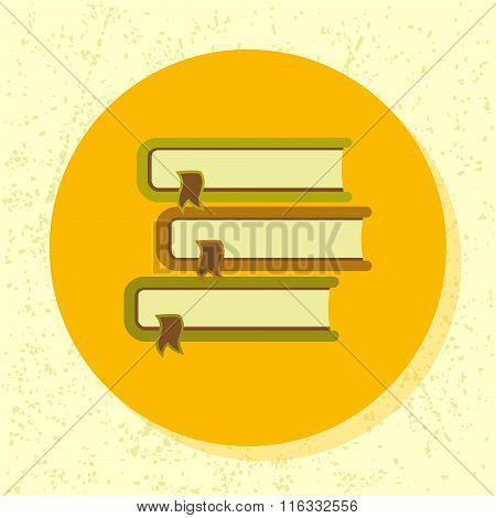 Vector Round Icon Pile Of 3 Books Symbol Of Education, Book, Course, Publication, Information