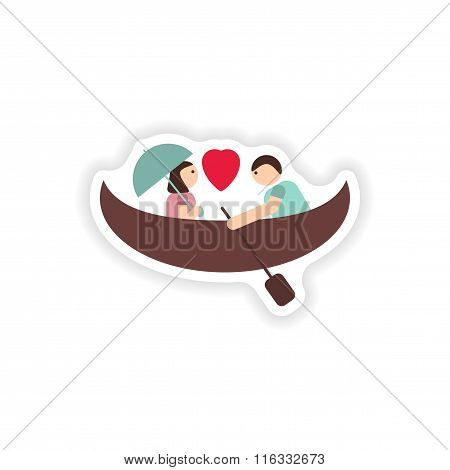 stylish paper sticker on white background love boat