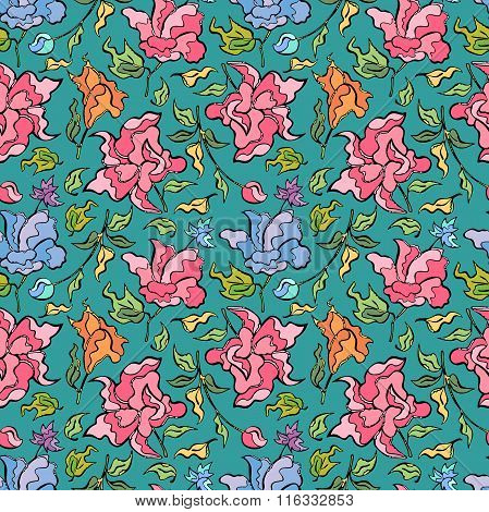 Flower pattern Vector seamless background.