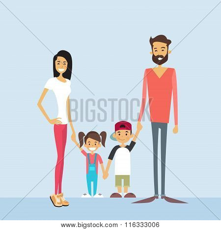 Happy Family Four People, Parents With Two Children Holding Hands