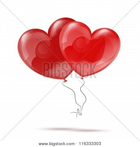 Vector Illustration of Two 3d Red Heart Balloons