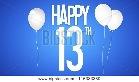 Happy Birthday Card - Boy With White Balloons - 13 Years Greeting Postcard - Illustration Anniversar