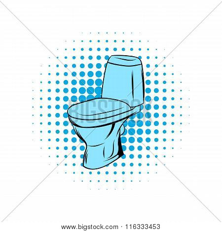 Blue toilet comics icon
