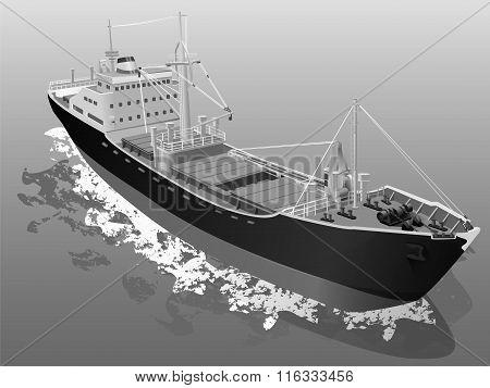 Lumber Vessel Cargo Ship Ocean Grey