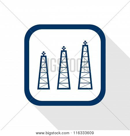 Vector Square Dark Blue Icon Oil Rigs With Long Shadow - Symbol Of Petroleum Production