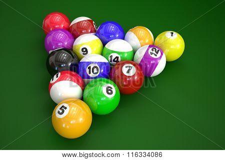 Billiard Balls On Green Background