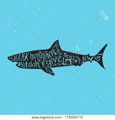 Typography lettering shark