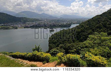 View of Pokhara and Fewa Lake