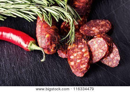 Sausage Chorizo. Spanish traditional chorizo sausage, with fresh herbs, garlic, pepper and chili pep
