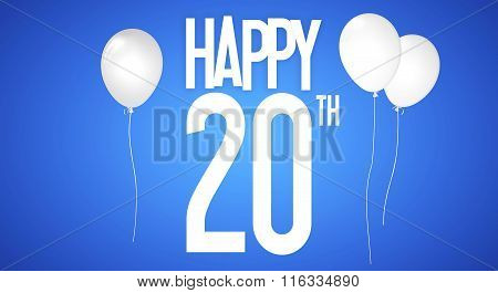 Happy Birthday Card - Boy With White Balloons - 20 Years Greeting Postcard - Illustration Anniversar