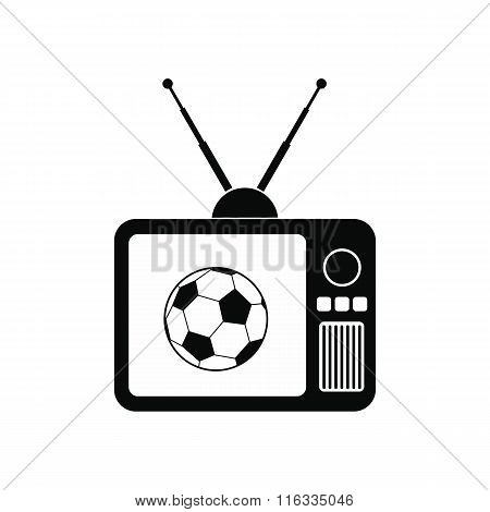 Football match on an old TV icon