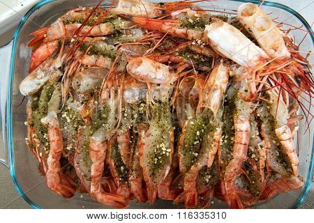 Prawns prepared with herbs for cooking