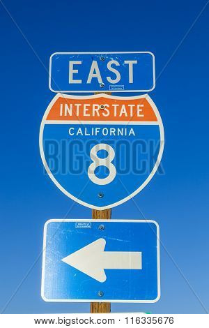 Interstate 8 Sign At The Highway With Blue Sky