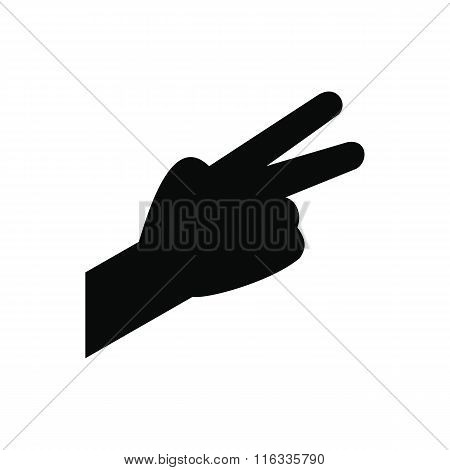 Hand with two fingers black simple icon