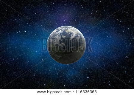 Planet Earth In Starry And Dusty Space Illuminated By Sun