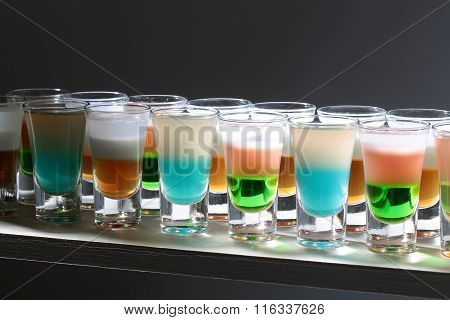 Rows Of Tasty Shots Cocktails