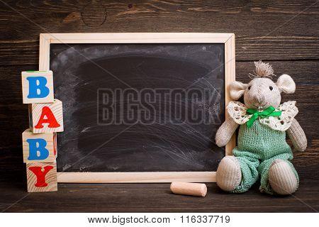 empty chalk board on  wooden background