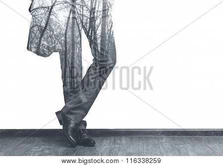 Businessman's Legs And Forest Double Exposure B/w Image