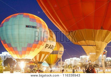 International Air-Balloons During Night Show and Glowing on International Aerostatics Cup