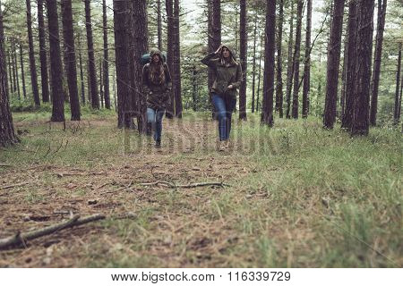 Twin Sister Trekking In Forest.