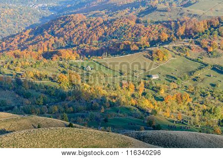 Autumnal Mountain Landscape With Houses. Beautiful Sunny Autumn Mountains Panoramic View With Houses