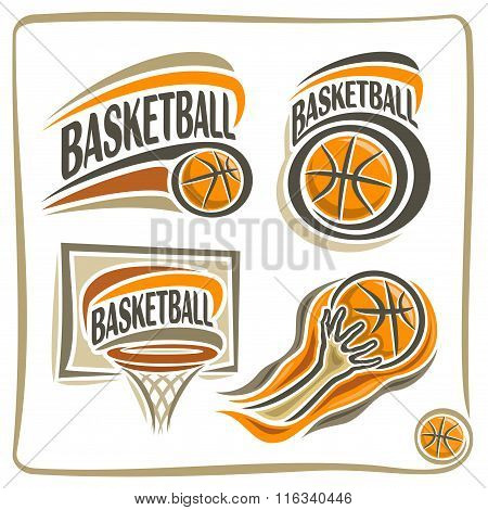 A set of illustrations on a basketball subject