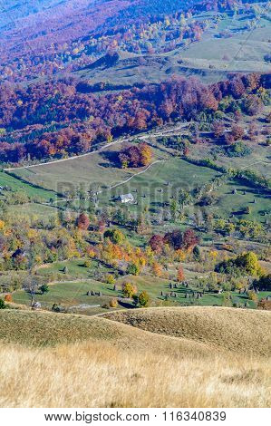 Vertical Autumn Mountain Landscape With Stacks, Animals, Fences. Beautiful Sunny Autumn Mountains Vi