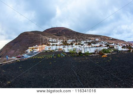 picturesque village of Femes in Lanzarote in sunrise