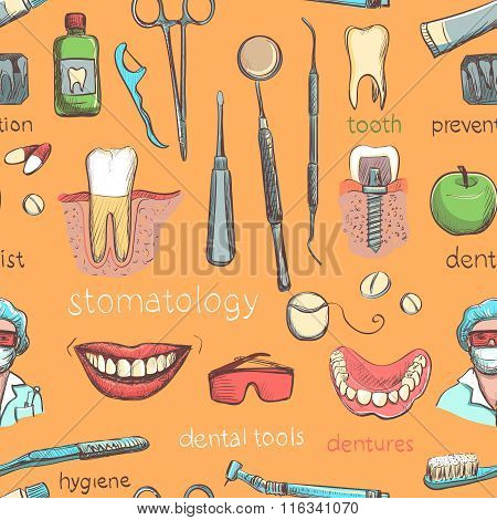 Seamless pattern with dental care instruments- tooth paste, tooth brush, smiling teeth, tooth with braces, dental floss, mouth wash and implant. Vector illustration. Repeating pattern, dental clinic.