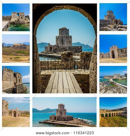 Collage of Bourtzi in Methoni, Messenia, Greece