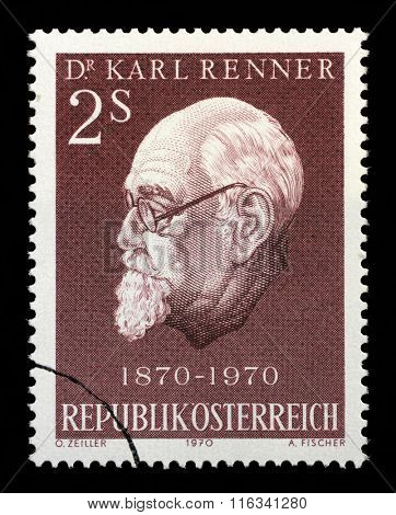 AUSTRIA - CIRCA 1970: A stamp printed in Austria shows Karl Renner (1870-1950), president of Austria, circa 1970