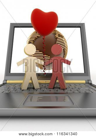 Couple with a balloon in the form of heart on laptop