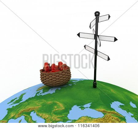 Signpost and basket full of hearts. Travel Concept for Lovers. 3d illustration on a white background