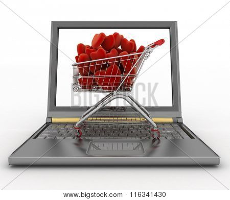 Supermarket trolley full of red hearts on laptop. 3d illustration