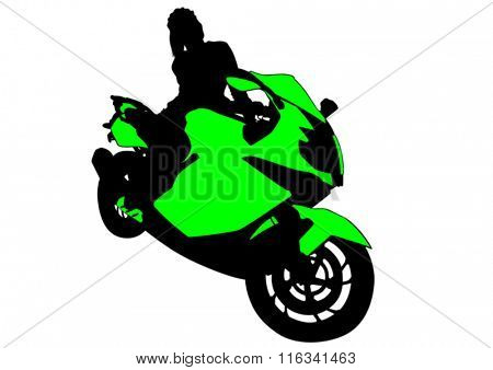 Silhouettes of motorcycle and beauty woman on white background