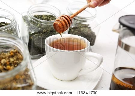 Tea sweetened with honey.
