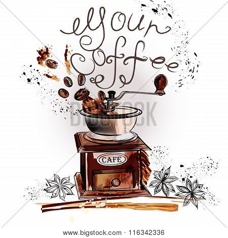 Coffee Background With Watercolor Spots Coffee Mill Fried Beans Anise Stars