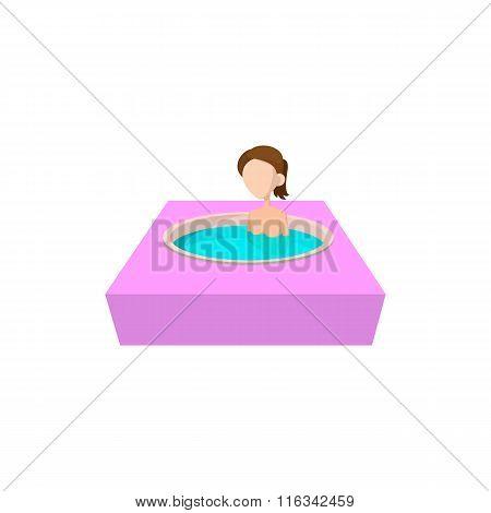 Girl taking bath in hot spring bathtub icon
