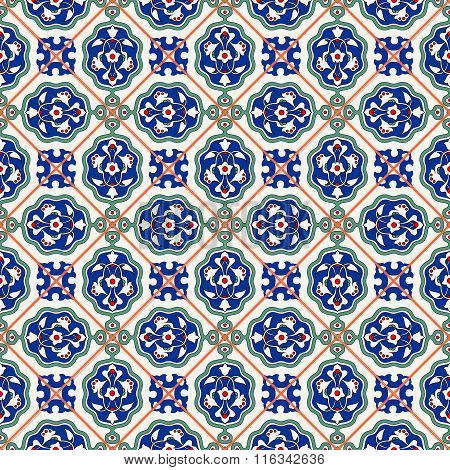 Gorgeous seamless  pattern  white Turkish tiles, ornaments.  Can be used for wallpaper, pattern fill