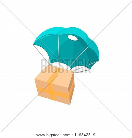 Package with parachute cartoon icon