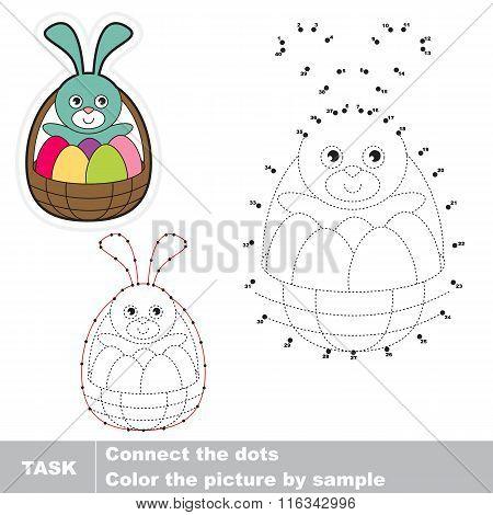 Easter Basket . Vector numbers game.