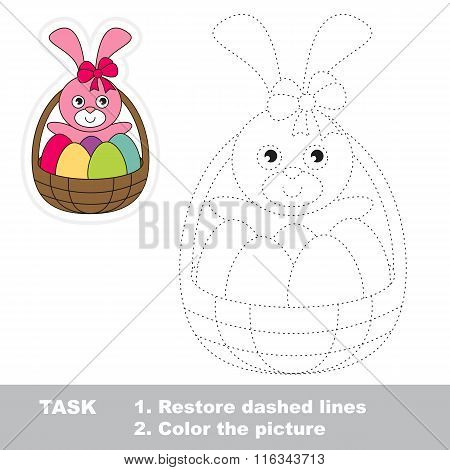 Easter Bunny to be traced. Vector trace game.