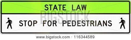 United States Mutcd Crosswalk Road Sign - Stop For Pedestrians