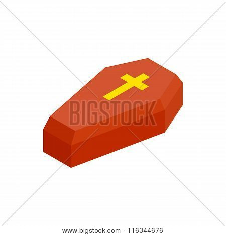 Red coffin isometric 3d icon