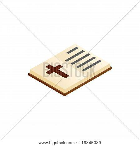 Bible open isometric 3d icon