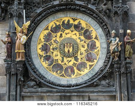 Calendar  of  the medieval  Astronomical  Clock in Prague , Czech  Republic.